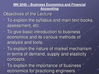 MN 3040 – Business Economics and Financial Accounting