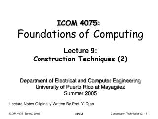 Lecture 9: Construction Techniques (2)