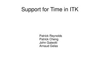 Support for Time in ITK