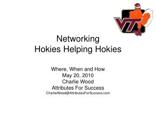 Networking Hokies Helping Hokies