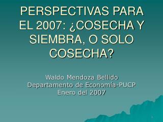 PERSPECTIVAS PARA EL 2007: ¿COSECHA Y SIEMBRA, O SOLO COSECHA?