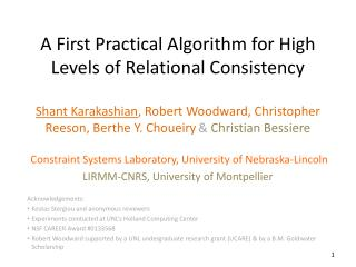 A First Practical Algorithm for High Levels of Relational Consistency