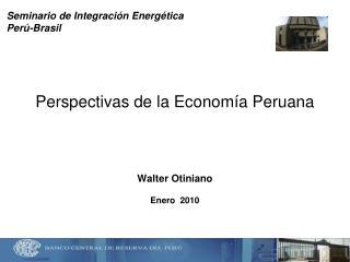 Perspectivas de la Economía Peruana Walter Otiniano Enero  2010