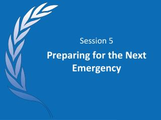 Session 5 Preparing for the Next Emergency
