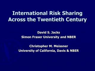 International Risk Sharing Across the Twentieth Century