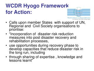WCDR Hyogo Framework  for Action: