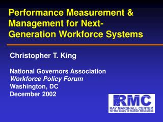 Performance Measurement & Management for Next-Generation Workforce Systems