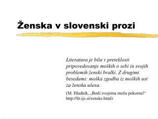 Ženska v slovenski prozi