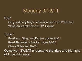 Monday 9/12/11