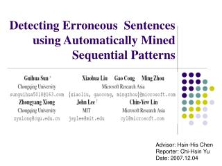 Detecting Erroneous  Sentences using Automatically Mined Sequential Patterns