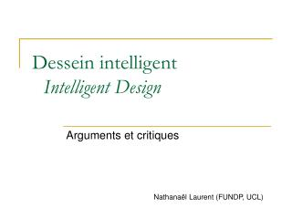 Dessein intelligent Intelligent Design