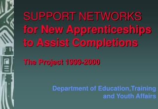 SUPPORT NETWORKS  for New Apprenticeships to Assist Completions The Project 1999-2000