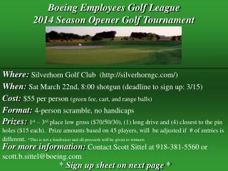 Boeing Employees Golf League 2014 Season Opener Golf Tournament