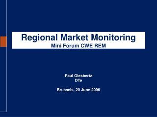 Regional Market Monitoring Mini Forum CWE REM