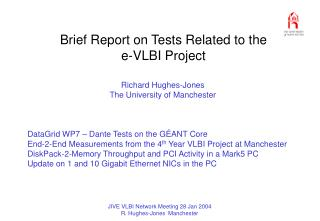 Brief Report on Tests Related to the  e-VLBI Project