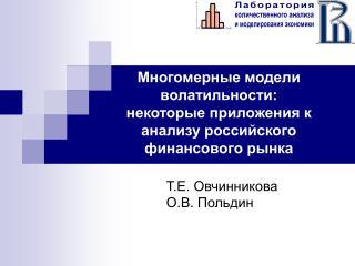 Многомерные модели  волатильности:  некоторые приложения к анализу российского финансового рынка