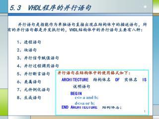5.3  VHDL 程序的并行语句