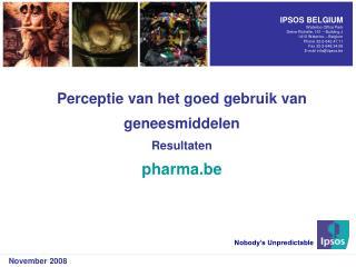 Perceptie van het goed gebruik van geneesmiddelen Resultaten pharma.be