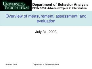 Overview of measurement, assessment, and evaluation