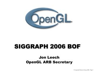 SIGGRAPH 2006 BOF