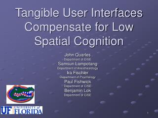 Tangible User Interfaces Compensate for Low Spatial Cognition
