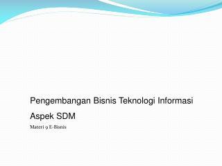 Pengembangan Bisnis Teknologi Informasi  Aspek SDM Materi 9 E-Bisnis