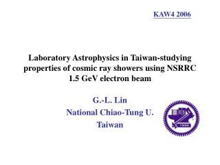 G.-L. Lin  National Chiao-Tung U. Taiwan