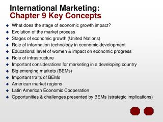 International Marketing:   Chapter 9 Key Concepts
