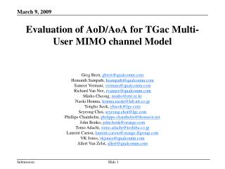 Evaluation of AoD/AoA for TGac Multi-User MIMO channel Model