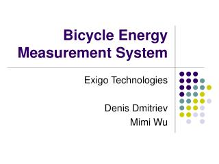 Bicycle Energy Measurement System