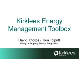 Kirklees Energy Management Toolbox