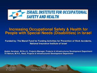 Increasing Occupational Safety & Health for People with Special Needs (Disabilities) in Israel