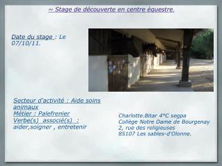 ~ Stage de découverte en centre équestre .