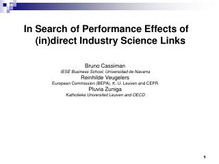 In Search of Performance Effects of (in)direct Industry Science Links