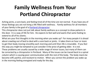 Family Wellness from Your Portland Chiropractor