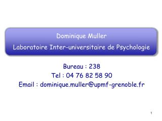 Dominique Muller Laboratoire Inter-universitaire de Psychologie