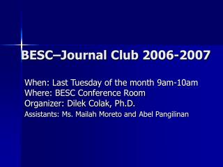 BESC–Journal Club 2006-2007
