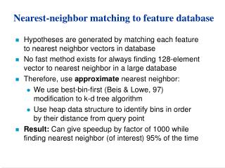 Nearest-neighbor matching to feature database