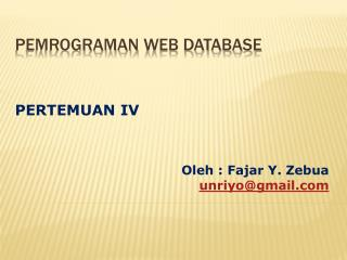 PEMrograman  web database