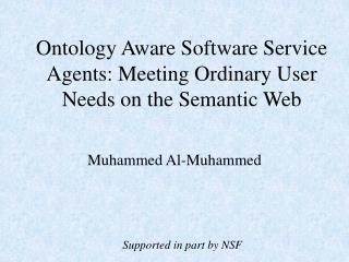 Ontology Aware Software Service Agents: Meeting Ordinary User Needs on the Semantic Web