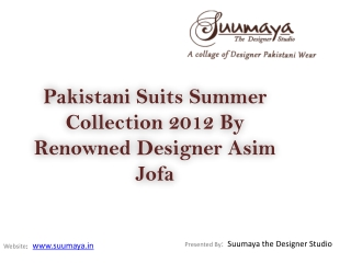 Pakistani Designer Suits 2012 Summer Collection By Designer