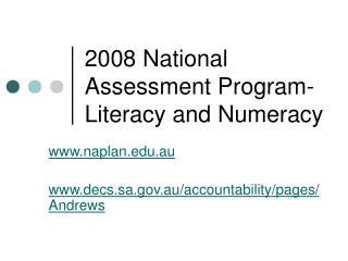 2008 National Assessment Program- Literacy and Numeracy