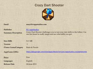 Crazy Dart Shooter For Android