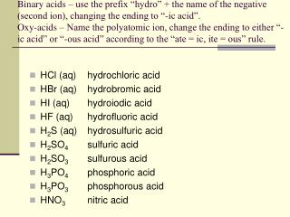 HCl (aq)hydrochloric acid HBr (aq)hydrobromic acid HI (aq)hydroiodic acid