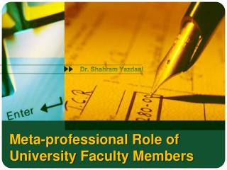 Meta-professional Role of University Faculty Members