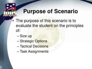 Purpose of Scenario