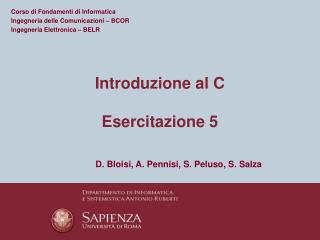 Introduzione al C Esercitazione  5