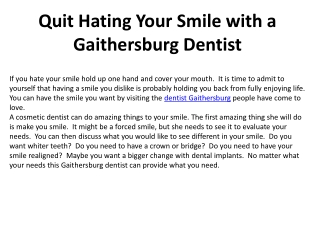 Quit Hating Your Smile with a Gaithersburg Dentist