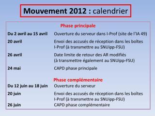 Mouvement 2012 :  calendrier