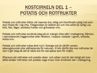 Kostcirkeln del 1 –  Potatis och Rotfrukter